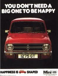 """MINI cooper ad. """"You don't need a big one to be happy"""" """"Happiness is 'MINI' shaped"""" Quotes to live by #MINIbaltimore"""