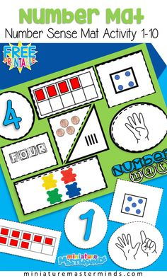 Free Printable Number Sense Number Mats From 1 to 10 Preschool and Kindergarten Math Centers Number Sense Kindergarten, Kindergarten Lesson Plans, Math Classroom, Kindergarten Activities, Preschool Activities, Number Sense Activities, Subitizing Activities, Montessori Preschool, Montessori Elementary