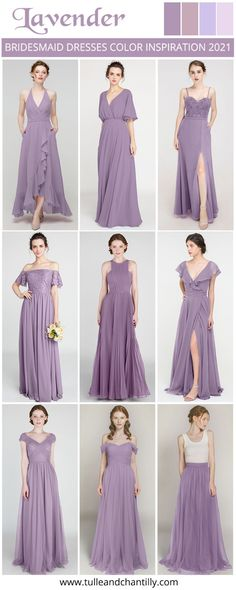Wedding color inspiration with mismatched bridesmaid dresses on budget from tulleandchantilly Mismatched Bridesmaid Dresses, Color Inspiration, Wedding Colors, Lavender, Tulle, Color Scheme Wedding, Tutu, Mesh, Tulle Skirts