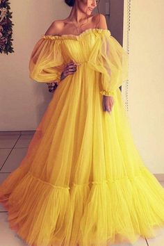 Pretty Prom Dresses, Prom Dresses Long With Sleeves, Tulle Prom Dress, Ball Gown Dresses, Elegant Dresses, Cute Dresses, Dress Long, Yellow Prom Dresses, Yellow Long Sleeve Dress