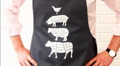 A #grilling #apron printed with an anatomical breakdown of the popular animals we eat - http://www.finedininglovers.com/blog/curious-bites/grilling-aprons-butcher-apron/