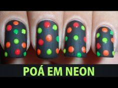 Unhas Decoradas - Poá em Neon - YouTube