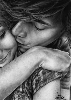kiss me more by BombAsoldier on deviantART ~ pencil art ~ romance