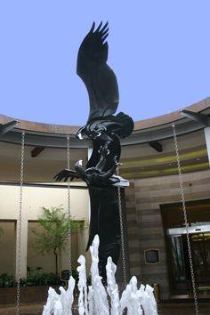 Bronze Sculpture/Life-Size Black Eagles by Keith Calder