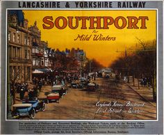 Lancashire and Yorkshire Railway, Southport for Mild Winters, England's famous boulevard, Lord Street in Winter, about 1920.