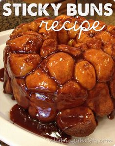 Sticky Buns (AKA: Monkey Bread)...Ingredients: 22 bake  serve frozen rolls, 1 small pkg. butterscotch pudding (3.5 oz), 1 stick butter, 3/4 C. brown sugar, 1 tsp. ground cinnamon, 1 bundt cake pan, cooking spray.  Click photo for link to directions.