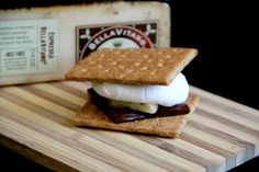 Gourmet S'mores with Espresso BellaVitano® - a new twist on this traditional campfire treat, savory and sweet!