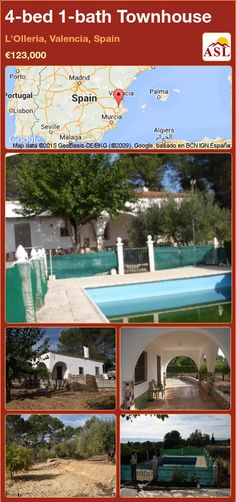 Townhouse for Sale in L'olleria, Valencia, Spain with 4 bedrooms, 1 bathroom - A Spanish Life Fitted Bathroom, Valencia Spain, Garden Pool, Murcia, Seville, Private Pool, Malaga, Rustic Style, Townhouse