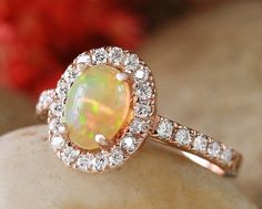 Opal and Diamond Halo Engagement Ring   Prong Setting   Polished Finish   Solid 14K Gold   Fine Jewelry   Free Shipping
