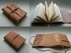 Kožený zápisník - originálny denník, hladenica, ručná práca / handmade book / bookbinding / long stitch / leather journal / notebook / diary / traveling / travel/ pyrography