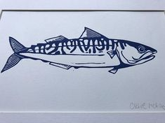 This is an open edition original hand pulled Linocut Print of a Mackerel in Prussian Blue by Claire McKay