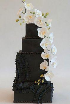 black and white wedding cakes black cake wtite flower casacade heartsweetcakes