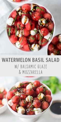 Watermelon Basil Salad with Mozzarella + Balsamic Glaze: a refreshingly delicious dish that's soooo easy to make & perfect for the summer! - Whisk in Wellness Watermelon Basil Salad, Watermelon Salad Recipes, Watermelon Art, Kitchen Recipes, Cooking Recipes, Vegetarian Recipes, Healthy Recipes, Fruit Recipes, Mozzarella Salad