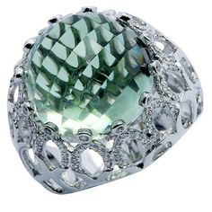 Checkerboard Cut Green Amethyst Diamond Large Gemstone Ring In 14K White Gold