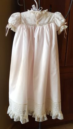 Long Baby Dress with Hand Embroidered Yoke and by CatherynCollins