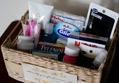 Thoughtful gift basket for guests. Great idea for the guest bathroom.