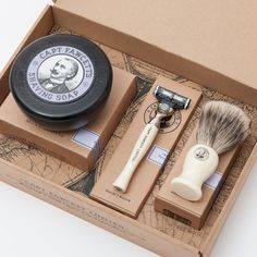 Without doubt the most sought after provision for the discerning Gentleman about town. A delightful box containing 3 of the Captain's most desirable shaving requisites, ideal for those intent on appearing ship shape and Bristol fashion whilst at all times 'keeping a stiff upper lip, regardless!'