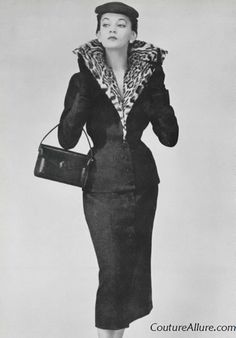 1953  Women's vintage 50s fashion photography photo image glamorous suit leopard collar jacket skirt purse hat