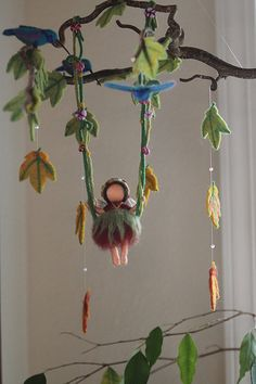 wool felted fairy on swing