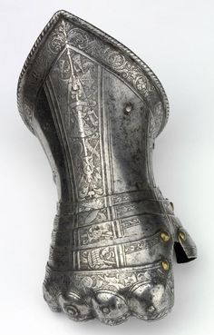 Acid Etched Metal Art from the Renaissance - Gauntlet, c 1580 Northern Italy, Steel