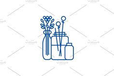 Window Design, Line Icon, Outline, Symbols, Concept, Interior, Illustration, Flowers, Indoor