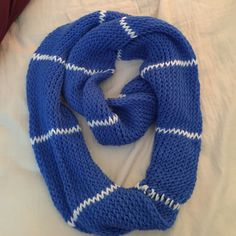 Blue scarf Infinity knitted blue scarf never used very warm and comfortable Accessories Scarves & Wraps