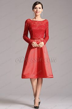 Long Lace Sleeves Red Party Dress Cocktail Dress (X04151802-1) list price: $139.99 sale price: $90.99