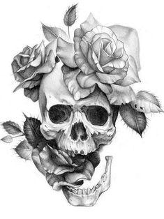 tattoo ideas /tattoo design / tattoo arm / tattoo for men / tattoo for women / tatoo geometric / tattoo skull Skull Rose Tattoos, Flower Tattoos, Body Art Tattoos, Sleeve Tattoos, Skull Tattoo Flowers, Tattoo Arm, Pretty Skull Tattoos, Tattoo Moon, Key Tattoos
