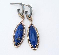 FAVRE BIJOUX: Lapis Egyptian Revival Deco Earrings Bronze  ||  Materials: Lapis, bronze, sterling silver