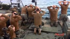 Ten U.S. sailors were kidnapped by the Islamic Republic in January, when their vessel accidentally strayed into Iranian waters. Above, photos that Iranian officials took of the sailors surrendering