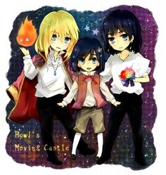 howl's moving castle:  howl blonde, howl with black hair, howl as kid, and Calcifer (fire/howl's heart).