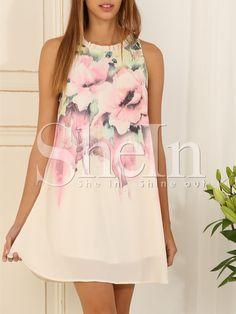 White Sleeveless Floral Print Dress 17.99