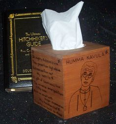 Hitchhiker's Guide to the Galaxy Tissue Box Cover - The Great Green Arkleseizure & Humma Kavula on Etsy, $42.00
