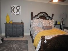 Yellow/Grey Bedroom..add some turquoise and it's perfect!