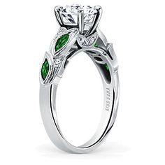Kirk Kara 18K White Gold Dahlia Diamond & Tsavorite Ring Mounting  2FSSW3933