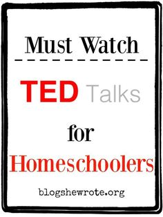 """By now you've probably heard about """"TED Talks"""". TED is a non-profit organization on a mission to spread ideas. TED's tagline is Ideas worth spreading. How do they go about accomplishing their mission? They provide powerful """"talks"""" which are 18 minutes or Homeschool High School, Planning School, School Resources, School Websites, Teacher Resources, Home Schooling, Online Schooling, Kids Education, Education System"""