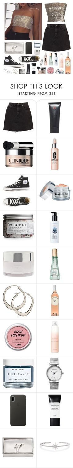 """Mega Watt"" by sophiehackett ❤ liked on Polyvore featuring Koh Gen Do, Clinique, GlamGlow, L:A Bruket, too cool for school, American Eagle Outfitters, Benefit, Dinny Hall, Drybar and Herbivore"