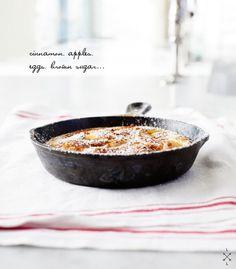 Apple Pancake - Apples, brown sugar, and cinnamon make up this custardy German-style apple pancake from my childhood.