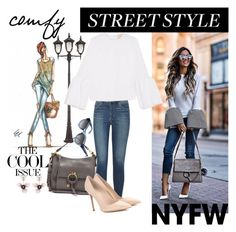 """""""favorite street style"""" by ann-kelley14 ❤ liked on Polyvore featuring John Timberland, Articles of Society, Roksanda, Bobbi Brown Cosmetics, See by Chloé, Gianvito Rossi, Marni, contestentry and nyfwstreetstyle"""