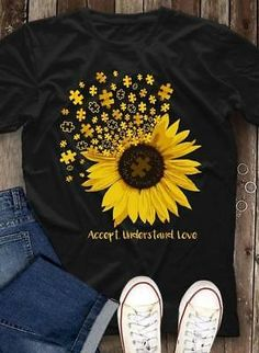 Autism Shirts Autism Awareness Autism Shirt for Mom Autism Shirt Teacher Autism Mom Autism Gift T Shirts With Sayings, Cute Shirts, Mom Sayings, Sunflower Shirt, Sunflower Clothing, Sunflower Gifts, Autism Awareness Shirts, T Shirt Painting, Tumblr Outfits