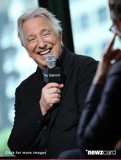 "Love that smile! Actor Alan Rickman speaks about his film ""A Little Chaos"" with moderator Ricky Camilleri during ""AOL Build Speaker Series"" June 2015 Photo Credit : Desiree Navarro"