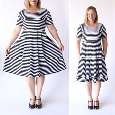 The post shows you how to sew the perfect knit fit & flare dress u… This is cute! The post shows you how to sew the perfect knit fit & flare dress using a tee shirt to make your own pattern in any size. Plus Size Sewing Patterns, Dress Sewing Patterns, Skirt Patterns, Coat Patterns, Blouse Patterns, Clothes Patterns, Pattern Sewing, Free Pattern, Robe Swing