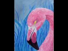 How to Paint a Blue Grass Pink Flamingo in Acrylics Beginners Painting Speed Painting - YouTube