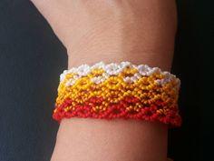 White yellow red micro macrame bracelet (18.00 USD) by Myamadasv