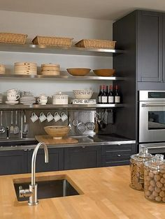 open shelving and bistro ware