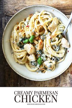 Spaghetti With Spinach, Chicken Spaghetti, Parmesan Pasta, Chicken Parmesan Recipes, Best Pasta Recipes, Lemon Pasta, Original Recipe, Pasta Dishes, Food Inspiration