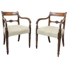 Pair of Fine English Regency Mahogany Armchairs, circa 1820 | From a unique collection of antique and modern armchairs at https://www.1stdibs.com/furniture/seating/armchairs/
