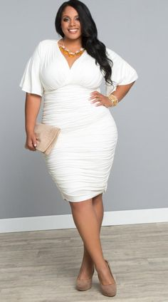Holiday Party?  Plus Size Floor Length Halter Maxi Dress in White at http://chicandcurvy.