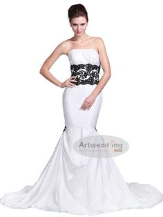Strapless Taffeta Mermaid Wedding Dress with Lace Waistband b7c5c4712200