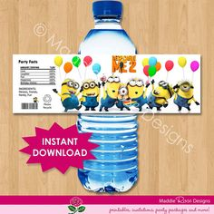Despicable Me Bottle Label -  INSTANT DOWNLOAD Minion Water Bottle Labels Printable Wrappers Favors - Matches Birthday Invitation via Etsy